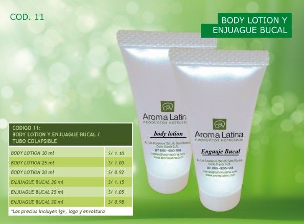 Body lotion y Enjuague bucal